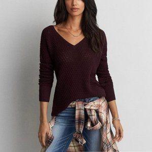 AE Knitted V-Neck Burgundy Sweater